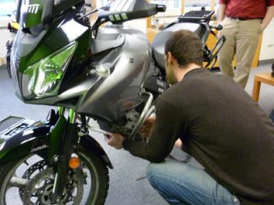 Jacob installs the crash bar prototype