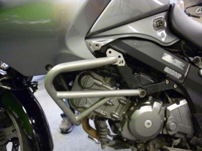 Prototype crash bars for the Suzuki V-Strom 650 installed