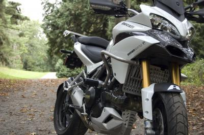 Ducati Multistrada 1200 with frame sliders, crash bar, header guard, oil cooler guard, radiator guard, luggage rack from AltRider