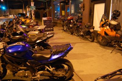 Adventure bikes lined up outside Smarty Pants for the Dakar Highlights event
