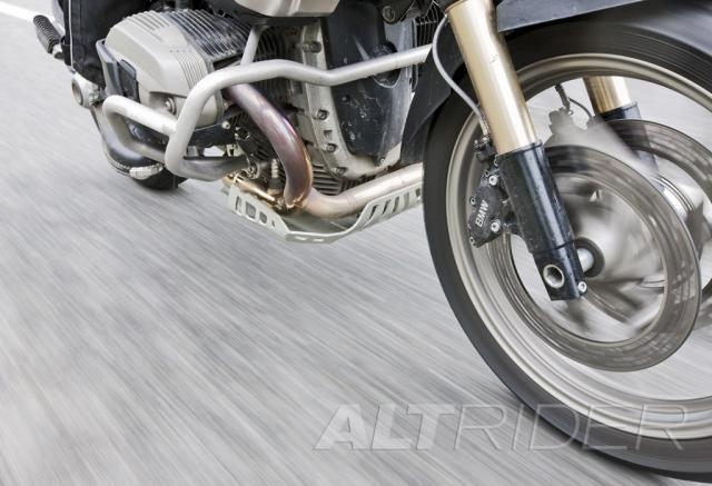 AltRider Skid Plate for BMW R 1200 GS (2005-2012) - Silver - Action Shot