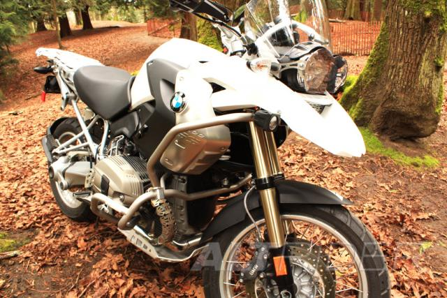 AltRider Upper Crash Bars Assembly for the BMW R 1200 GS (2008-2012) - White - Action Shot