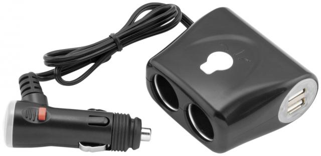 Adapter Plug with 2 USB Ports, 2 Accessory Ports, and On/ Off Switch with Indicator Light - Feature