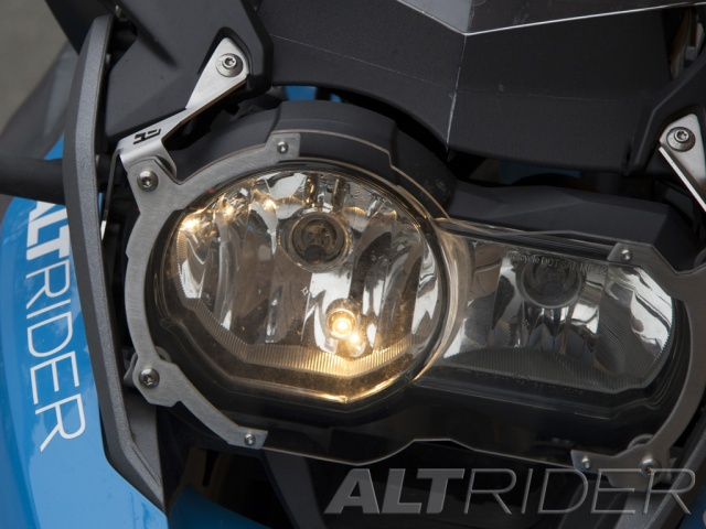 AltRider Clear Headlight Guard for the BMW R 1200 GS /GSA Water Cooled - Silver - Installed
