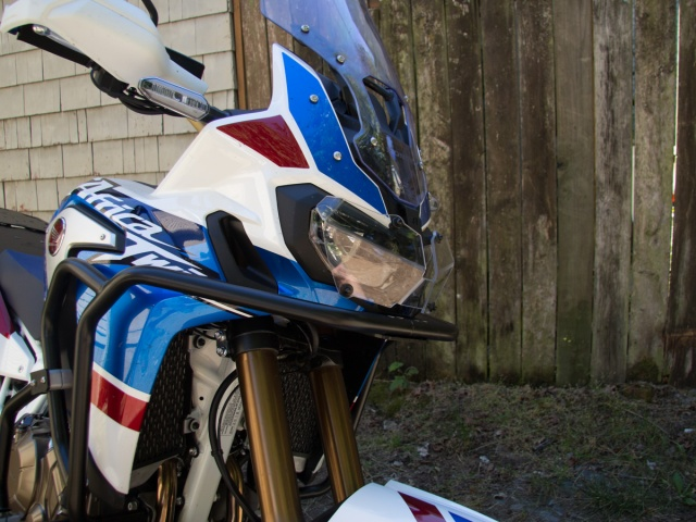 AltRider Clear Headlight Guard for the Honda CRF1000L Africa Twin - Installed