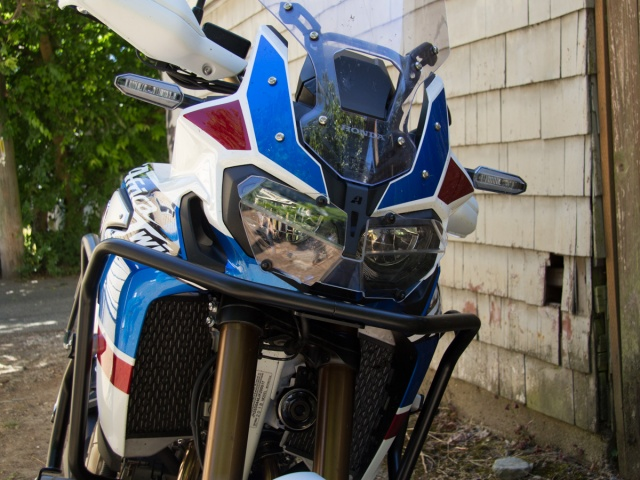AltRider Clear Headlight Guard for the Honda CRF1000L Africa Twin/ ADV Sports - Installed