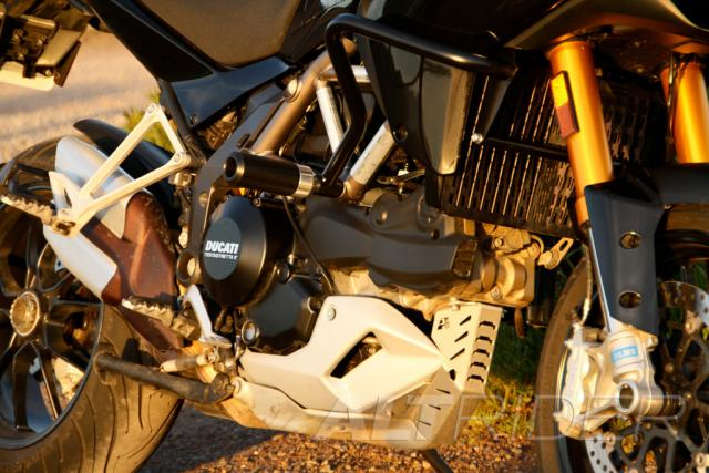 AltRider Crash Bar Frame Sliders for the Ducati Multistrada - Installed