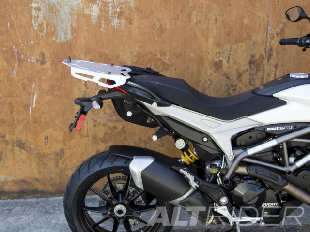 AltRider Luggage Rack for Ducati Hyperstrada - Silver - Installed