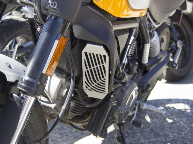 AltRider Oil Cooler Guard for the Ducati Scrambler - Installed