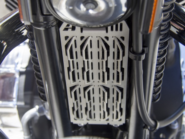 AltRider Oil Cooler Guard for the Triumph Bonneville / T100 - Installed