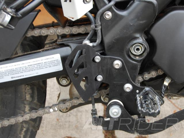 AltRider Rear Brake Master Cylinder Guard for the Husqvarna TR650 Terra and Strada - Silver - Installed
