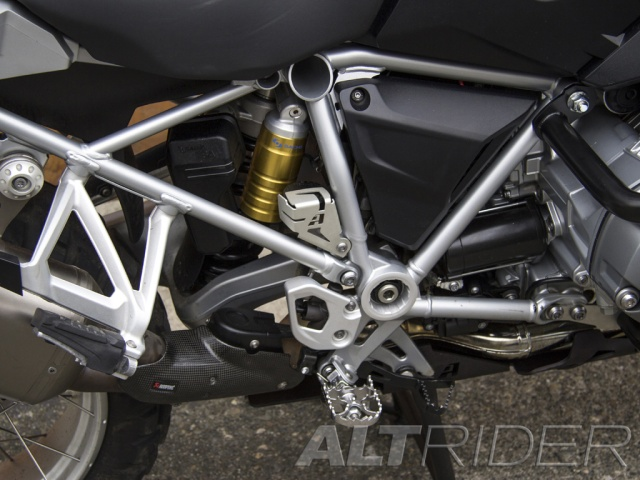 AltRider Rear Brake Reservoir Guard for the BMW R 1200 GS /GSA Water Cooled - Silver - Installed