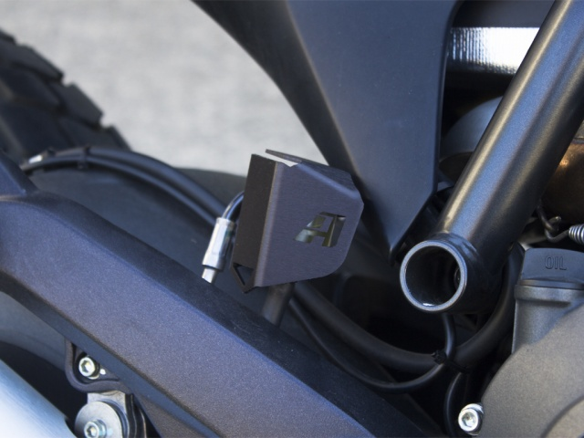 AltRider Rear Brake Reservoir Guard for the Ducati Scrambler - Installed