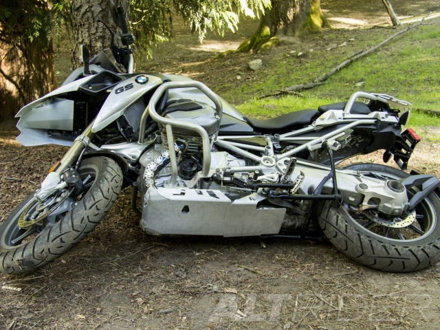 AltRider Skid Plate for the BMW R 1200 GS Water Cooled (2013-2015) - Silver - With Mounting Bracket - Installed