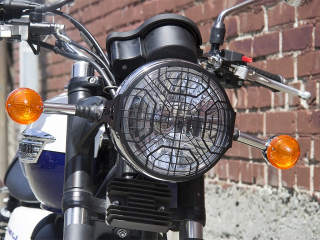 AltRider Stainless Steel Headlight Guard for the Triumph Bonneville / T100 - Black - Installed