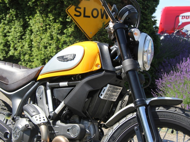 AltRider Voltage Regulator Guard for the Ducati Scrambler - Black - Installed
