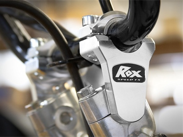 "ROX Elite Pivoting Handlebar Riser 2"" Rise x 7/8"" Handlbar Clamp x 7/8"" or 1 1/8"" Handlebar - Silver - Installed"