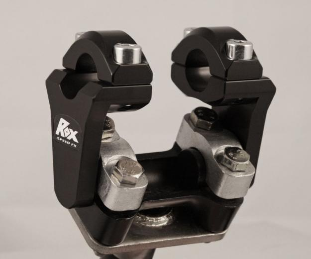 "ROX Pivoting Handlebar Riser 2"" Rise x 7/8"" Handlebar Clamp x 7/8"" Handlebar - Black  - Installed"