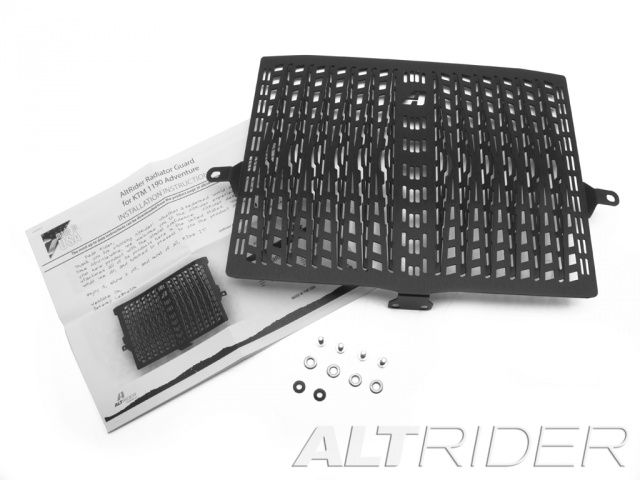 AltRider Radiator Guard for the KTM 1050/1090/1190 Adventure / R - Black - Product Contents