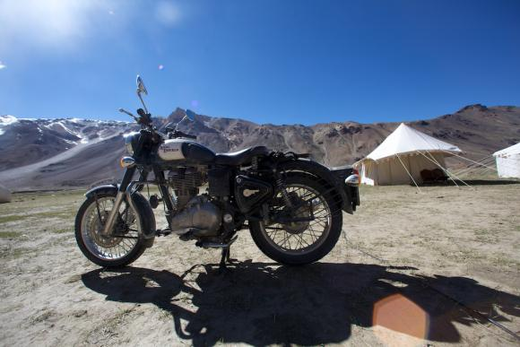 Camping with a Royal Enfield