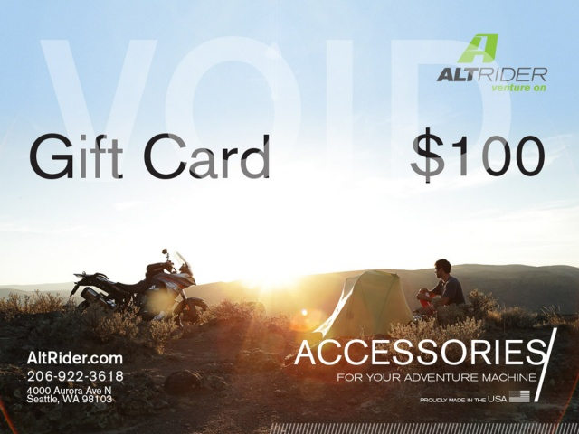 AltRider Gift Certificate $50 / $100 / $150 / $250 / $500 - Additional Photos