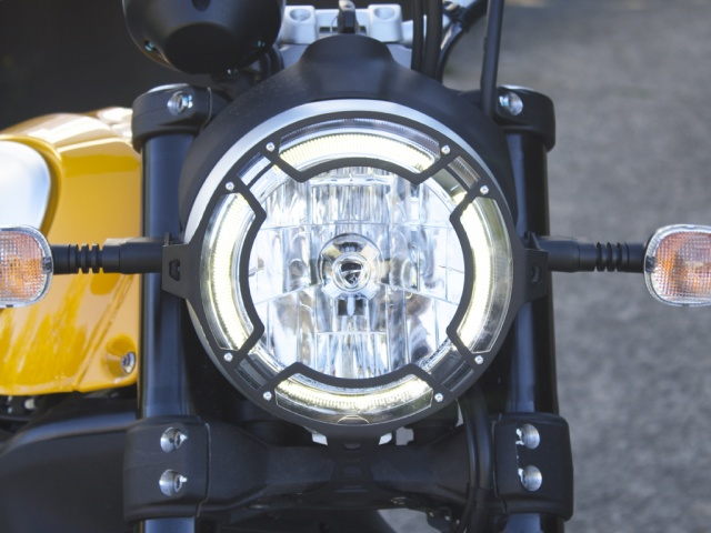 AltRider Clear Headlight Guard for the Ducati Scrambler - Installed