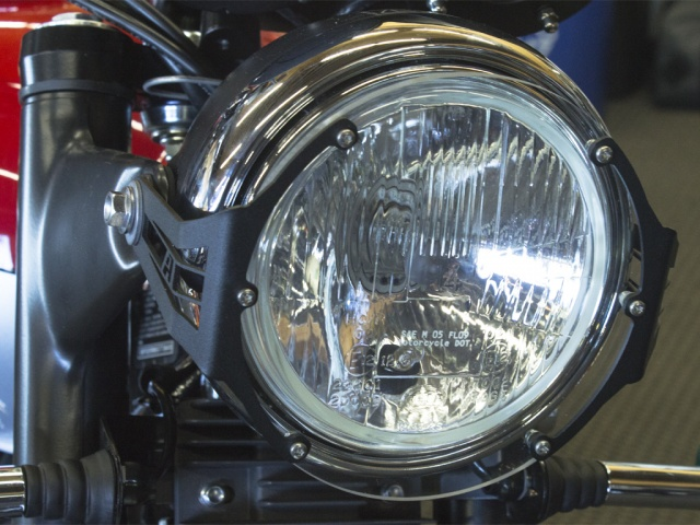 AltRider Clear Headlight Guard for the Triumph Scrambler - Installed