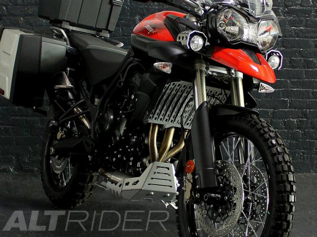 AltRider Radiator Guard for Triumph Tiger 800 (2011-2014) - Silver - Installed