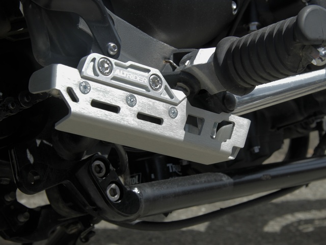AltRider Rear Brake Master Cylinder Guard for the Triumph Scrambler - Installed