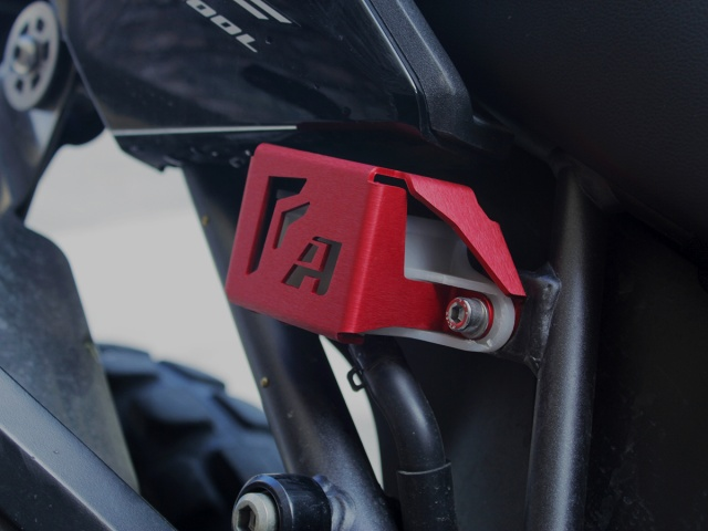 AltRider Rear Brake Reservoir Guard for the Honda CRF1000L Africa Twin (2016-2017) - Red - Installed