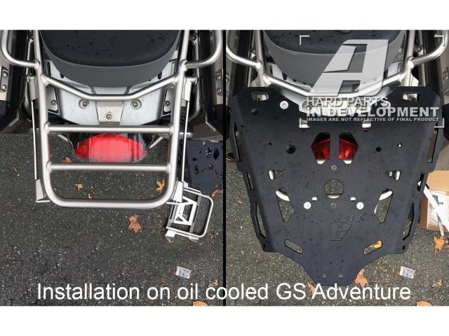 AltRider Rear Luggage Rack for the BMW R 1200 & R 1250 GS Adventure (2008-current) - Silver - Installed