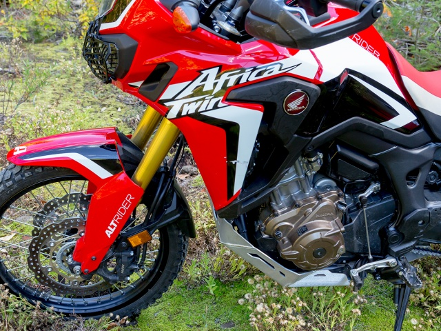 AltRider Skid Plate Extension for the Honda CRF1000L Africa Twin - Silver - Installed