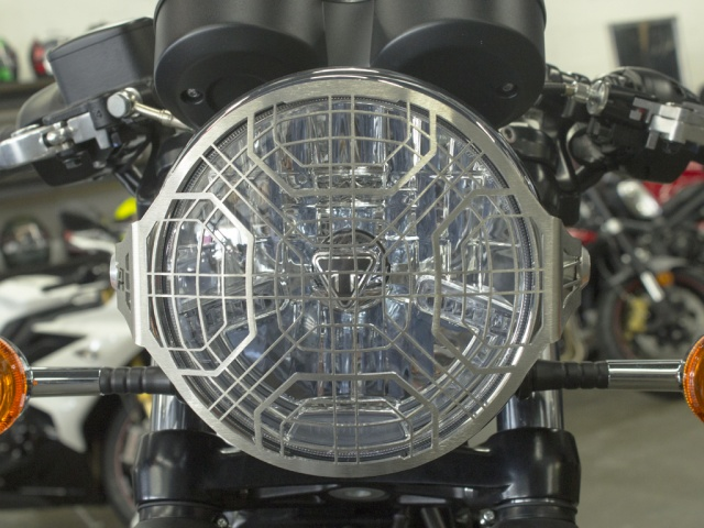 AltRider Stainless Steel Headlight Guard for the Triumph Thruxton (2016-current) - Installed