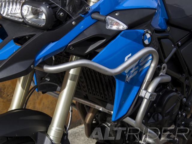 AltRider Upper Crash Bars Assembly for the BMW F 800 GS (2013-current) - Silver - Installed