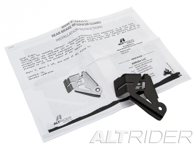 AltRider Rear Brake Reservoir Guard for the BMW R 1200 & R 1250 GS /GSA Water Cooled - Black - Product Contents